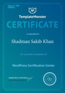 Shadman Sakib Khan-WordPress Certification Center By TemplateMonster